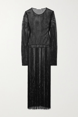 Helmut Lang Fringed Crocheted Cotton-blend Top - Black