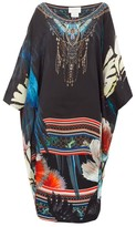 Camilla Night Flight Print Silk Kaftan - Womens - Black Print