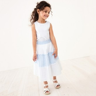 The White Company Tiered Skirt & Top Set (1-6yrs), White, 1-1 1/2yrs
