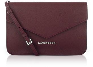 Lancaster Paris Bordeaux Saffiano Signature Flap Clutch w/Strap