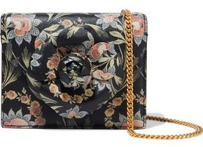 Oscar de la Renta Mini Tro Floral-print Textured-leather Shoulder Bag