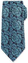 Ermenegildo Zegna Dotted Rose Woven Silk Tie, Green