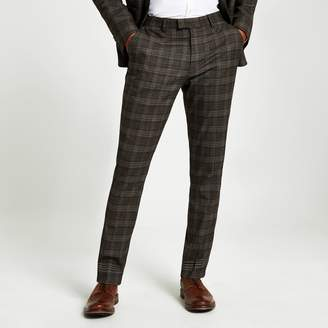 River Island Mens Brown heritage check skinny suit trousers
