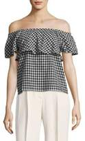 Saks Fifth Avenue Gingham Off-Shoulder Top