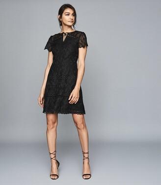Reiss Czara - Lace Midi Dress in Black