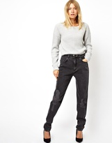 Asos Boyfriend Jeans with Rips in Washed Black