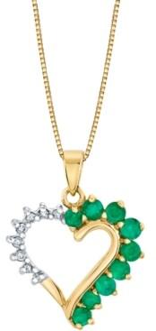 "Macy's Emerald (5/8 ct. t.w.) & Diamond (1/10 ct. t.w.) Heart 18"" Pendant Necklace in 14k Gold"