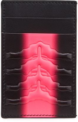 Alexander McQueen Men's Spine Embossed Two-Tone Leather Card Holder