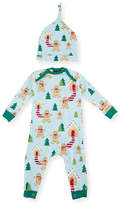 BedHead Gingerbread-Print Knit Coverall Pajamas w/ Hat