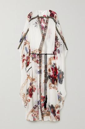 Camilla Belted Crystal-embellished Printed Silk-crepon Kaftan - White