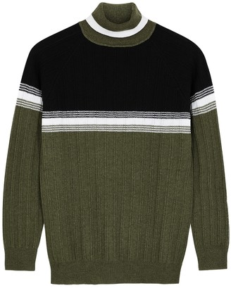 Plan C Colour-blocked Ribbed Cashmere Jumper