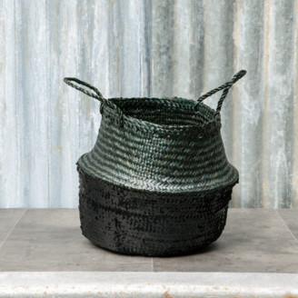 Dassie Artisan - Small Black and Black Seagrass Sequin Basket - Black