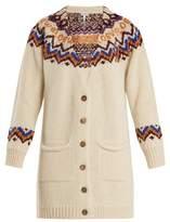 Loewe Geometric-intarsia wool-blend cardigan