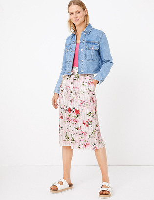 Marks and Spencer Linen Floral A-Line Skirt