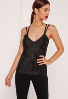 Missguided Pleated Strap Back Cami Top Black