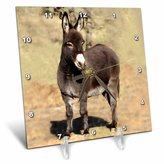 Mini A Ture 3dRose LLC Miniature Donkey 6 by 6-Inch Desk Clock