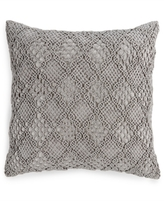 "Hotel Collection Linen Fog Embroidered 20"" Square Decorative Pillow"