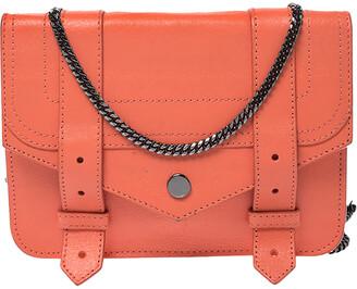 Proenza Schouler Orange Leather Large PS1 Chain Clutch