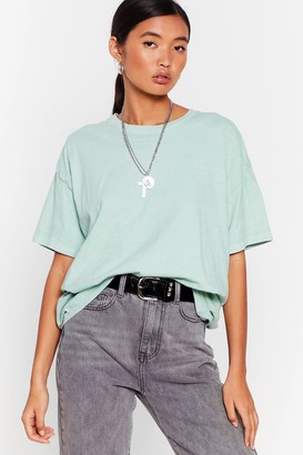 Nasty Gal Womens What's the Relaxed Crew Neck Tee - Green - S