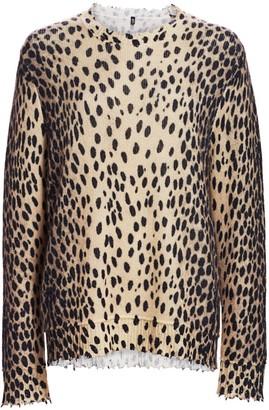 R 13 Leopard Print Cashmere Crewneck Sweater