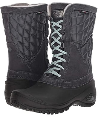 The North Face ThermoBall Utility Mid (Shiny Blackened Pearl/TNF Black) Women's Cold Weather Boots