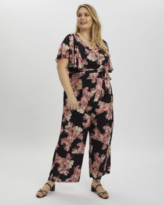 You & All Plus Floral Print Jumpsuit