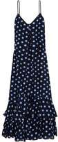 Moschino Ruffled Polka-dot Cotton And Silk-blend Voile Maxi Dress - Black