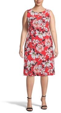 Kasper Plus Floral Sleeveless Dress