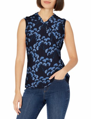 Tommy Hilfiger Women's Knot Neck Sleeveless Knit Top Midnight Multi XL