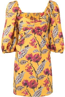 A.L.C. Floral-Print Puff-Sleeve Mini Dress