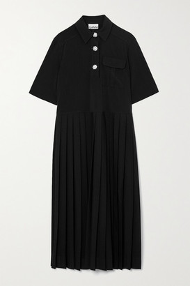 Ganni Crystal-embellished Pleated Woven Midi Shirt Dress - Black