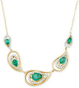 RARE Featuring GEMFIELDS Certified Emerald (1-7/10 ct. t.w.) and Diamond (5/8 ct. t.w.) Necklace in 14k Gold