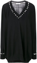 Givenchy faux pearl trim jumper - women - Silk/Cashmere/Wool - XS
