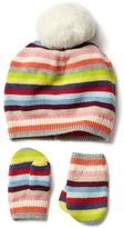 Gap Bright stripes hat & mittens set