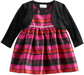 Youngland Baby Girl 2-Piece Stripe Woven Dress with Shrug