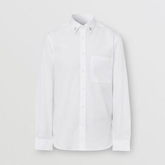 Burberry Slim Fit Letter Motif Stretch Cotton Poplin Shirt