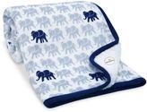 Lambs & Ivy Elephant Sherpa Blanket in Indigo