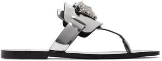 Versace Silver Palazzo Flat Thong Sandals