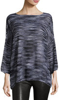M Missoni 3/4-Sleeve Bateau-Neck Space-Dye Pullover Top