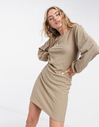 Vila long sleeve shift dress in check