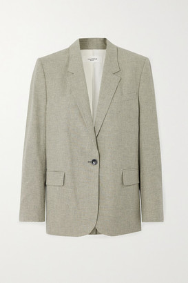 Etoile Isabel Marant Verix Checked Cotton And Linen-blend Blazer - Sage green