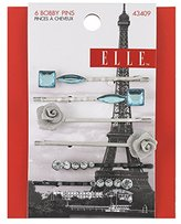 Elle 6 Piece Mixed Jewels and Silver Flowers Bobby Pins