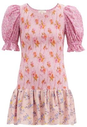 LoveShackFancy Luppa Shirred Floral-print Mini Dress - Pink Print