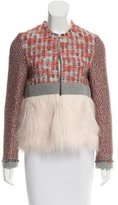 MSGM Faux Fur-Accented Tweed Jacket