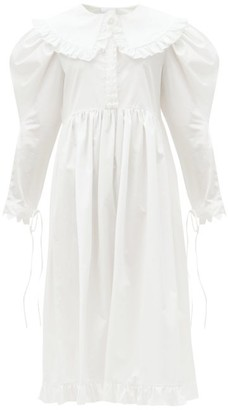 Horror Vacui Lisi Bib-collar Cotton-poplin Dress - White