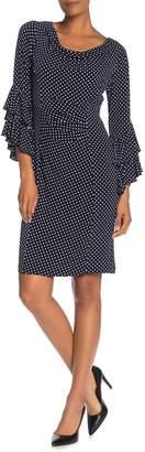 Robbie Bee Polka Dot Cowl Neck Ruffle Sleeve Dress