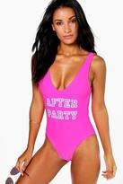 Boohoo Kos After Party Slogan Swimsuit