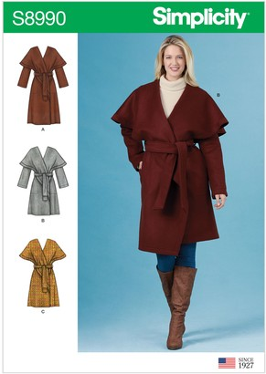 Simplicity Misses' Wrap Coat Sewing Pattern, 8990