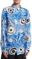 Acne Studios Tie-Dye Long-Sleeve Blouse, Blue Pattern