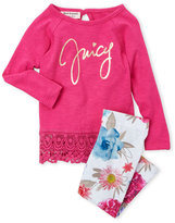 Juicy Couture Newborn Girls) Two-Piece Crochet Trim Top & Floral Leggings Set